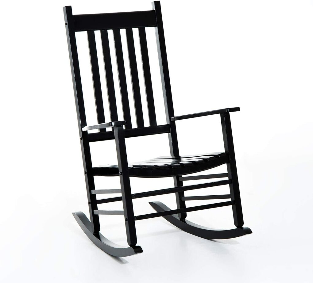 glossy black rocking chair rocker porch