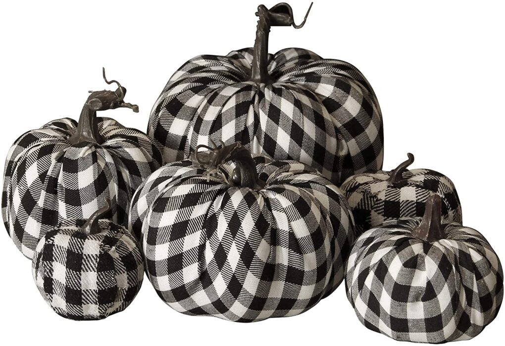 Buffalo Plaid Fabric Pumpkin Set