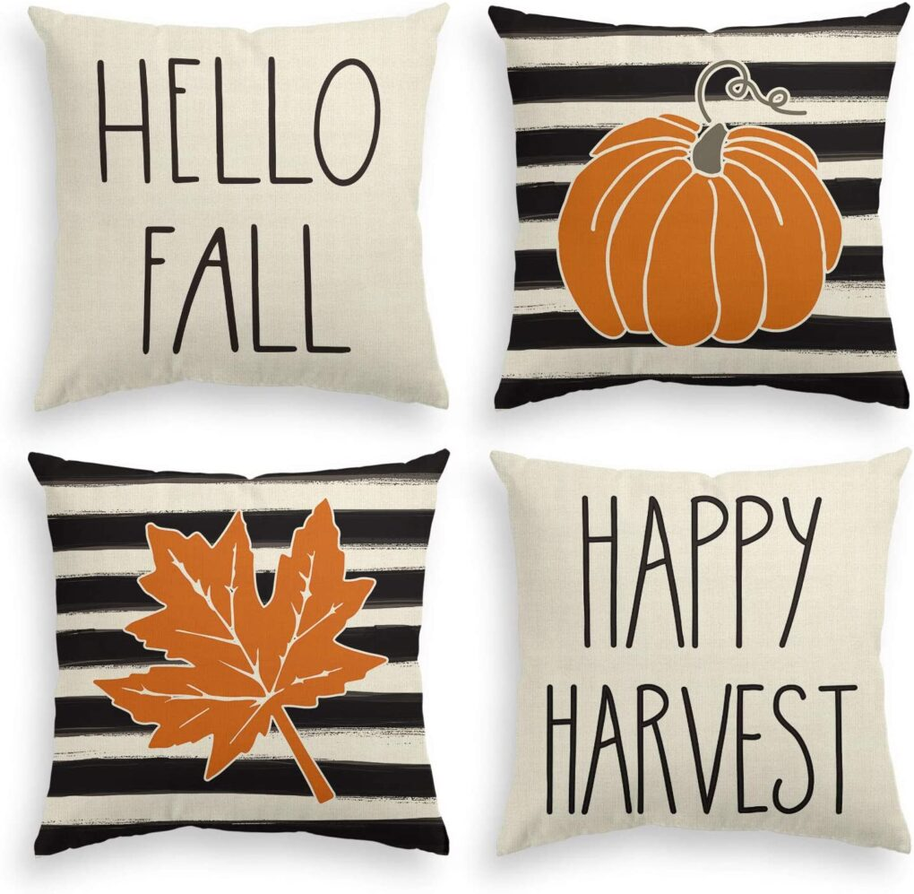 hello fall happy harvest amazon pillow set black white stripes