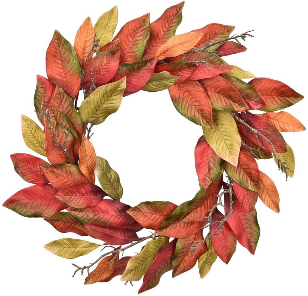 fall door wreath magnolia leaves colors autumn