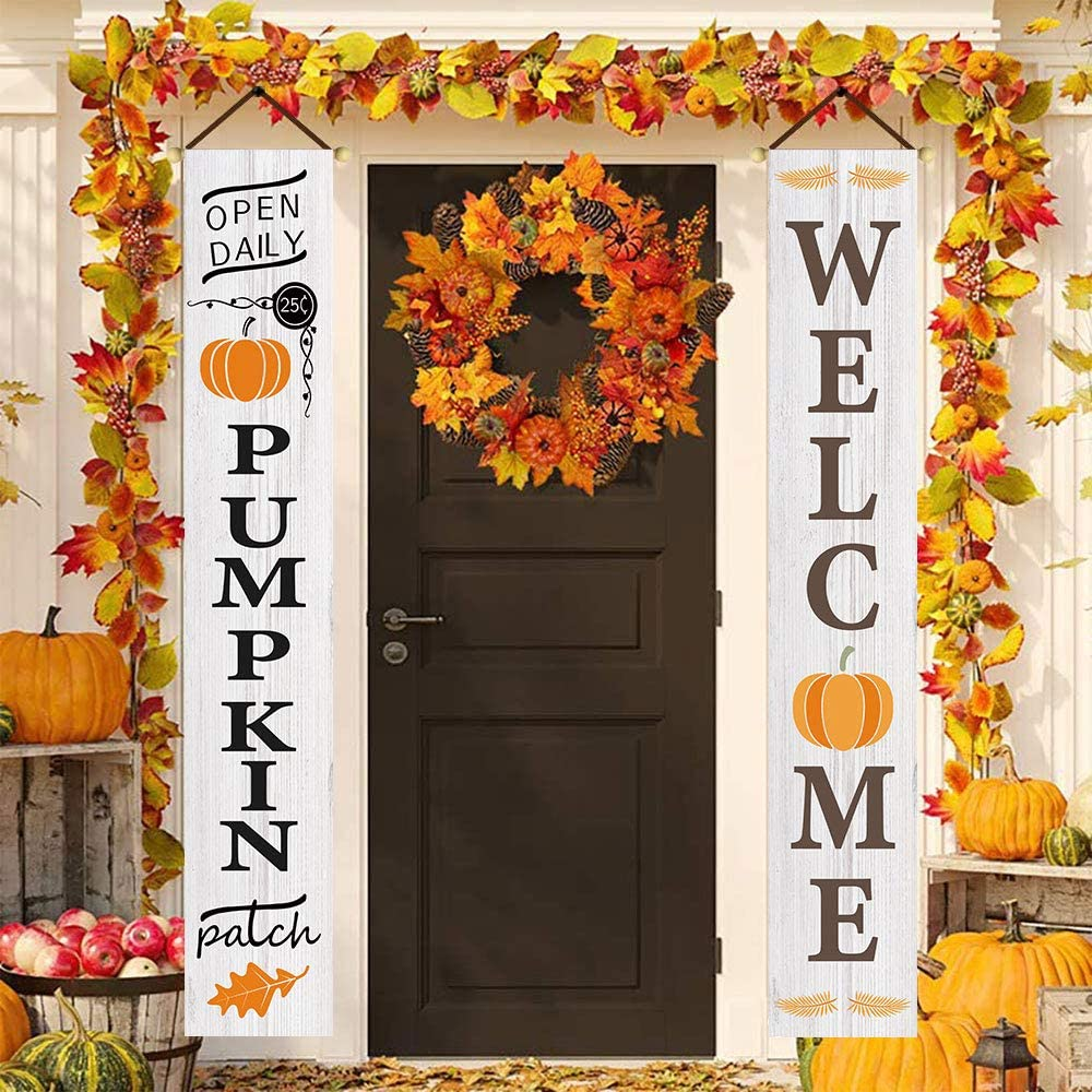 welcome and pumpkin patch fall banners for porch front door