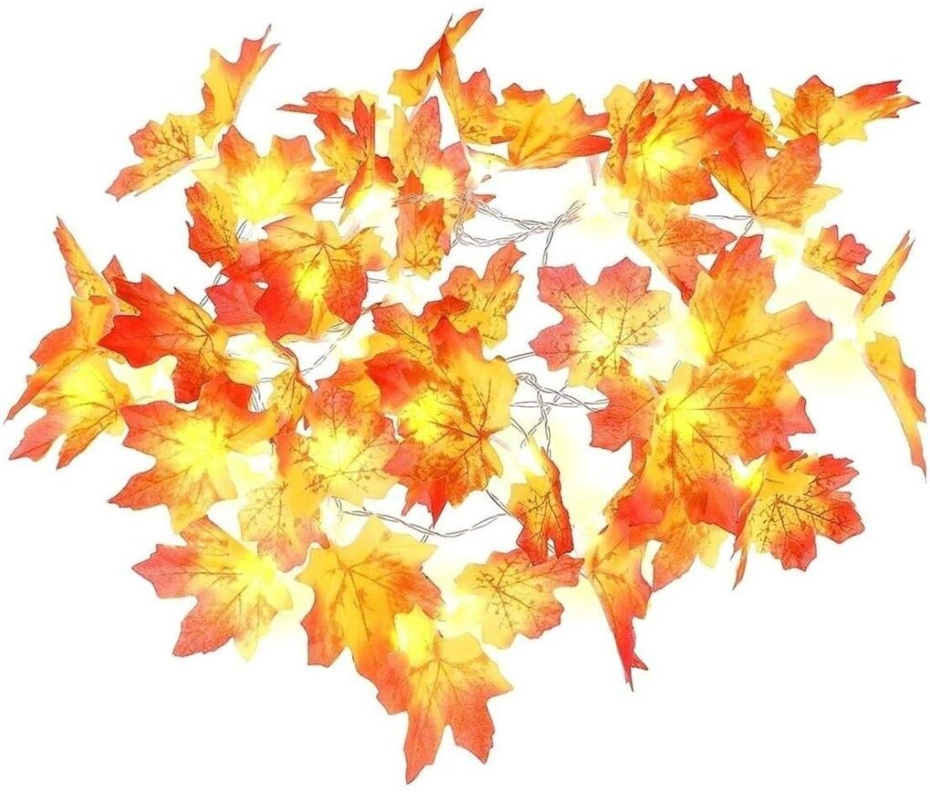 LED amazon fall leaves garland lighted