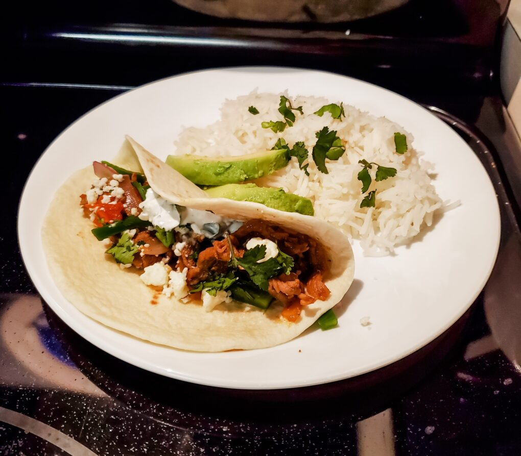 Everyday Teacher Style Home Chef prepared meal Barbacoa Steak Tacos and Cilantro Rice