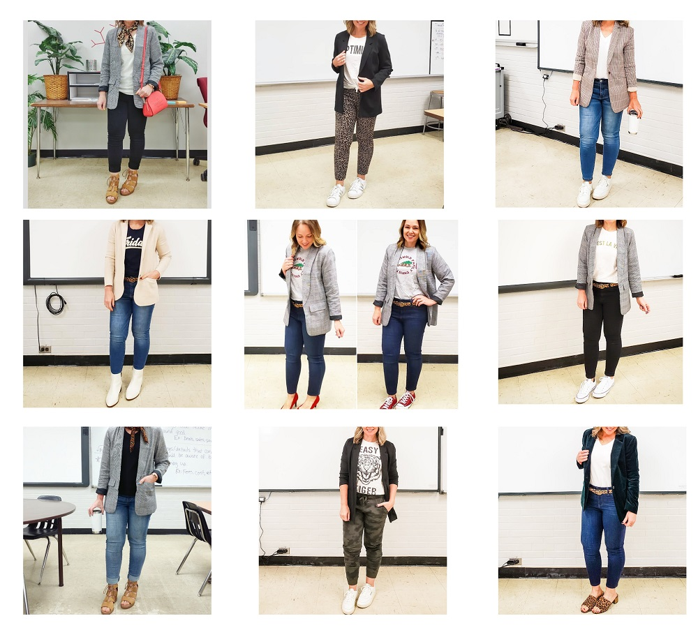 Examples of blazer outfits for teachers
