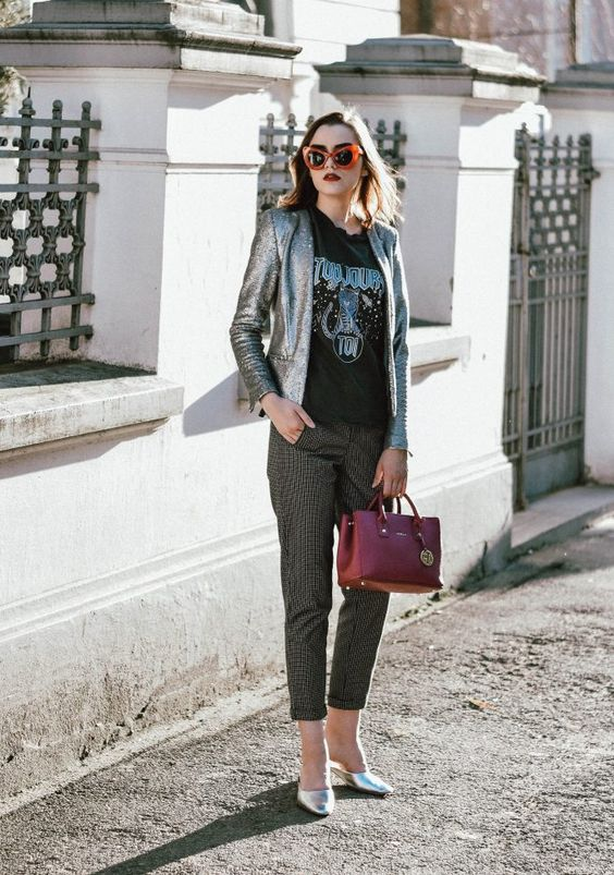 Teacher outfit with sequin blazer, graphic tee, plaid pants, and metallic shoes