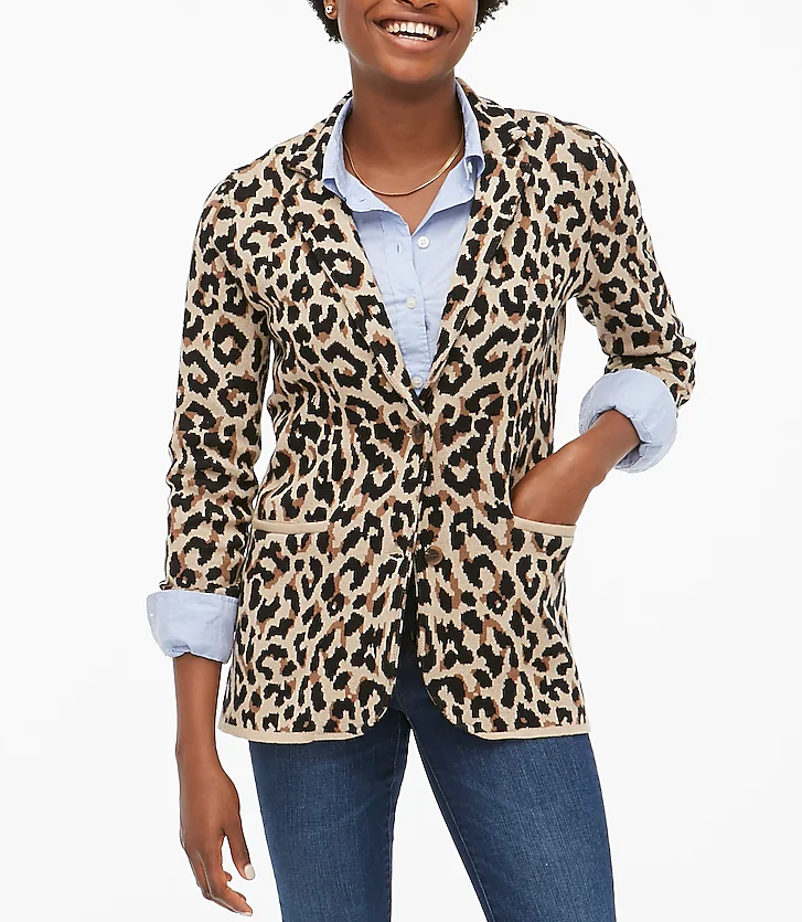 J Crew Factory Leopard print blazer with chambray shirt, jeans,  and whatever shoes for a teacher outfit