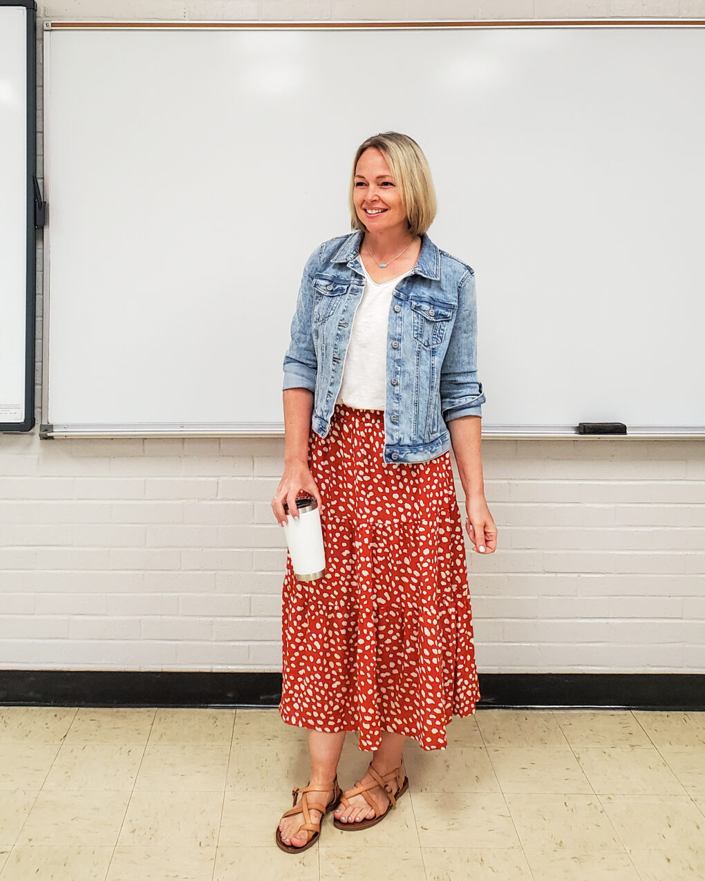 Denim jacket with midi skirt outfit