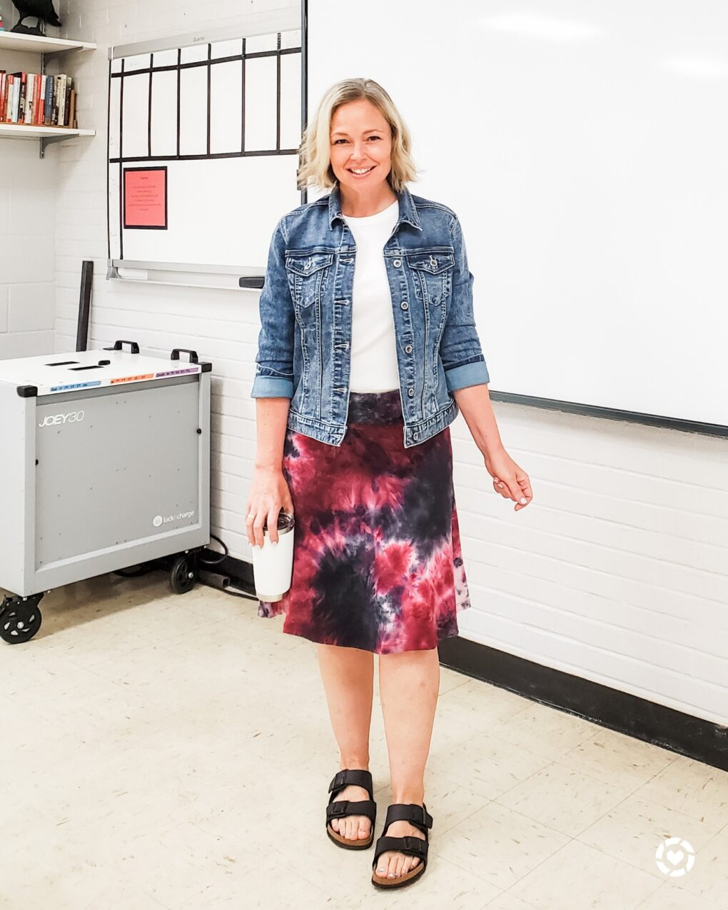 Denim jacket with tank top and midi skirt outfit for teacher