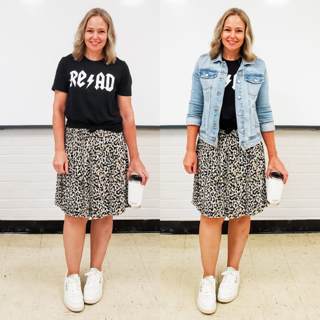 Denim jacket with graphic tee and midi skirt teacher outfit