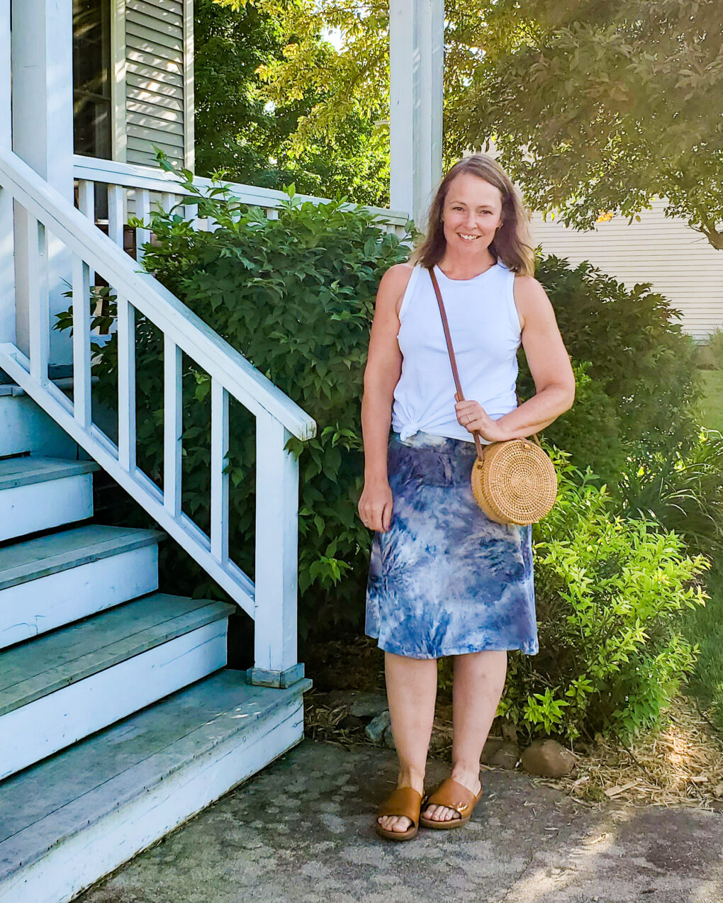 Tank top with midi skirt outfit