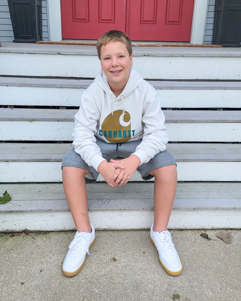 Jay in Carhartt Logo Sweatshirt, DSG Shorts, and Nike Court Vision Shoes