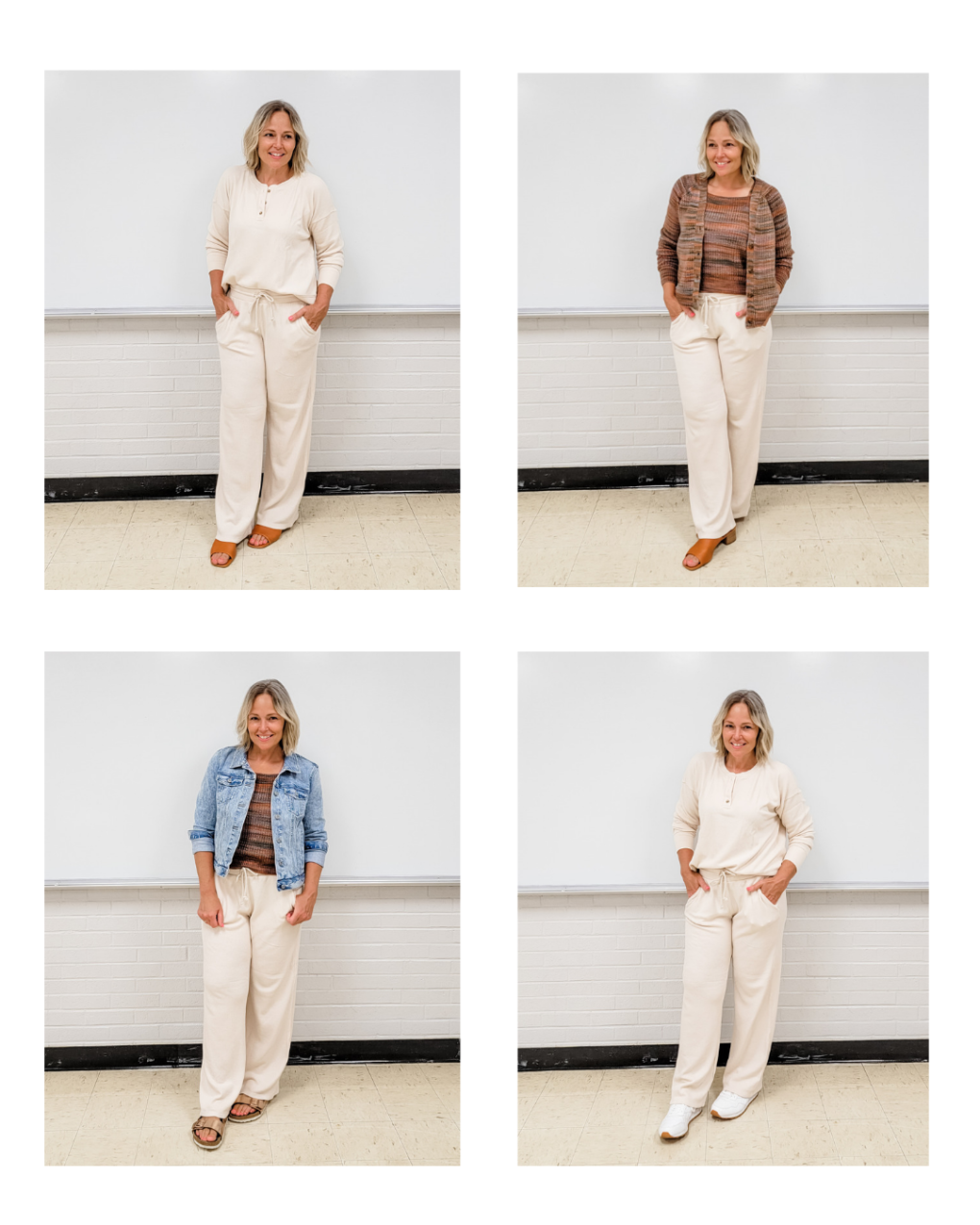LOFT Lou & Grey off white waffle knit set with henley top and wide leg pants teacher outfits