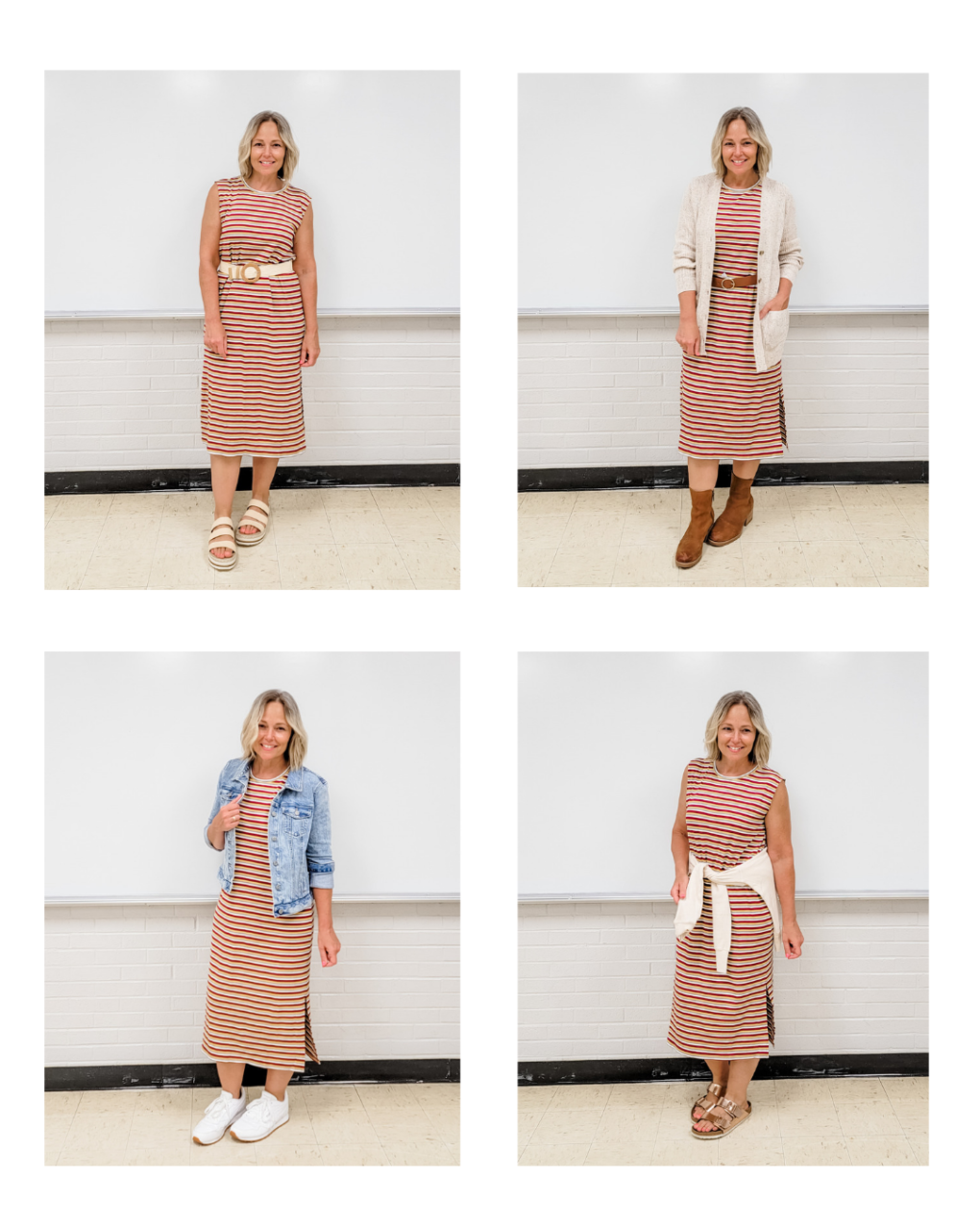 Outfits featuring the LOFT Striped Ribbed Midi Dress