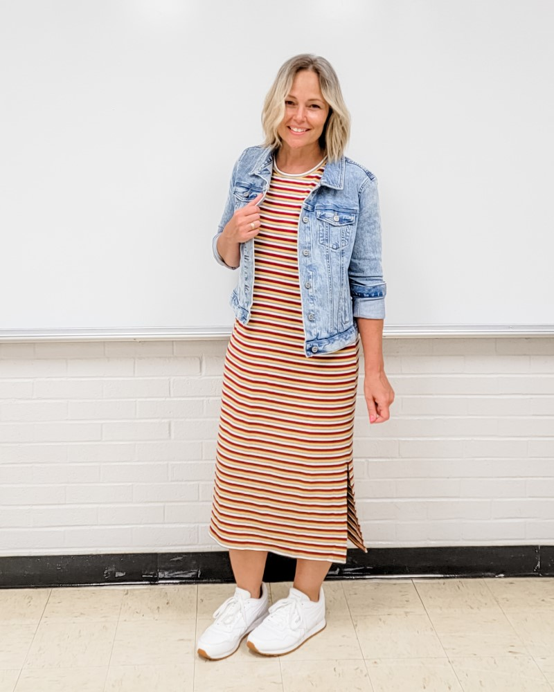 LOFT Striped Ribbed Midi Dress and Denim Jacket with White Reebok Sneakers image